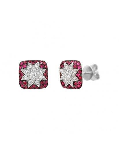 Square Stud Ruby Diamond Earrings - Natkina