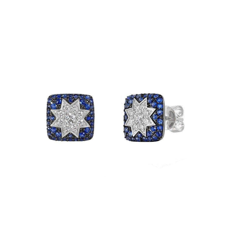 Square Stud Star Diamond Earrings with Sapphire - Natkina