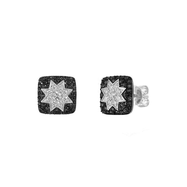 Square Stud Star Earrings Black Diamonds - Natkina