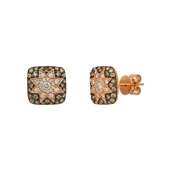 Square Stud Star Earrings Champagne Diamond - Natkina