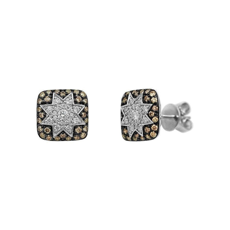 Square Stud Star Earrings Champagne Diamonds - Natkina