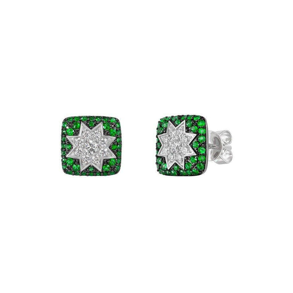 Square Stud Star Earrings Tsavorite - Natkina