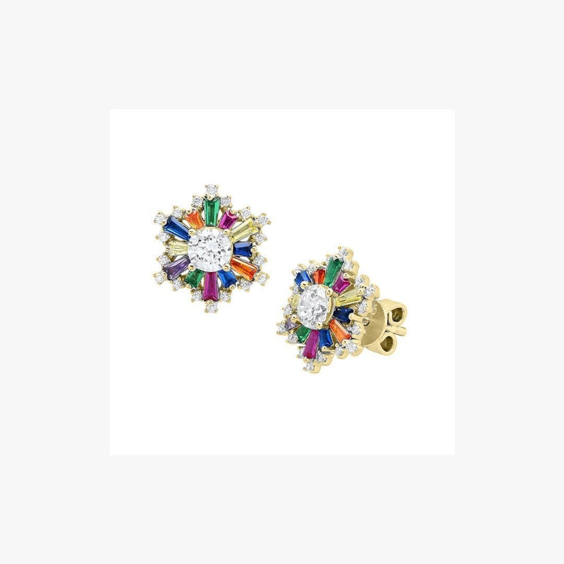Sun Rainbow Stud Silver Earrings - Natkina