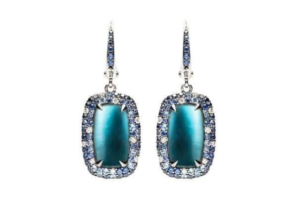 Topaz and Mother of Pearl Diamond Earrings - Natkina
