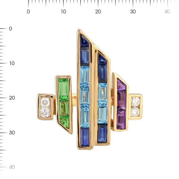 Topaz Blue Sapphire Amethyst Diamond Yellow Gold Earrings - Natkina