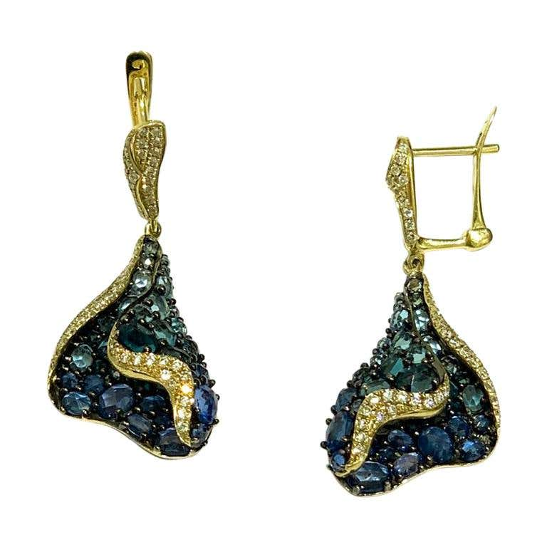 Topaz Blue Sapphire Diamond Designer Three-Stone Yellow Gold Dangle Earrings - Natkina