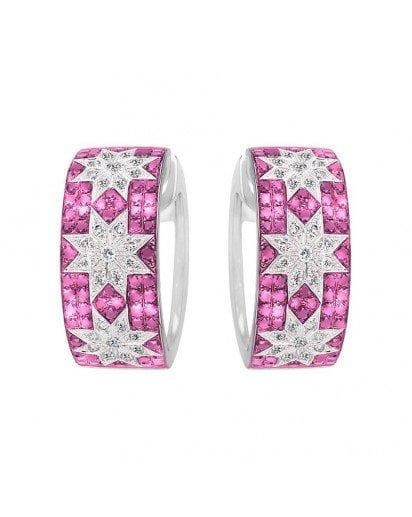 Trio Star earrings wide Pink Sapphire - Natkina