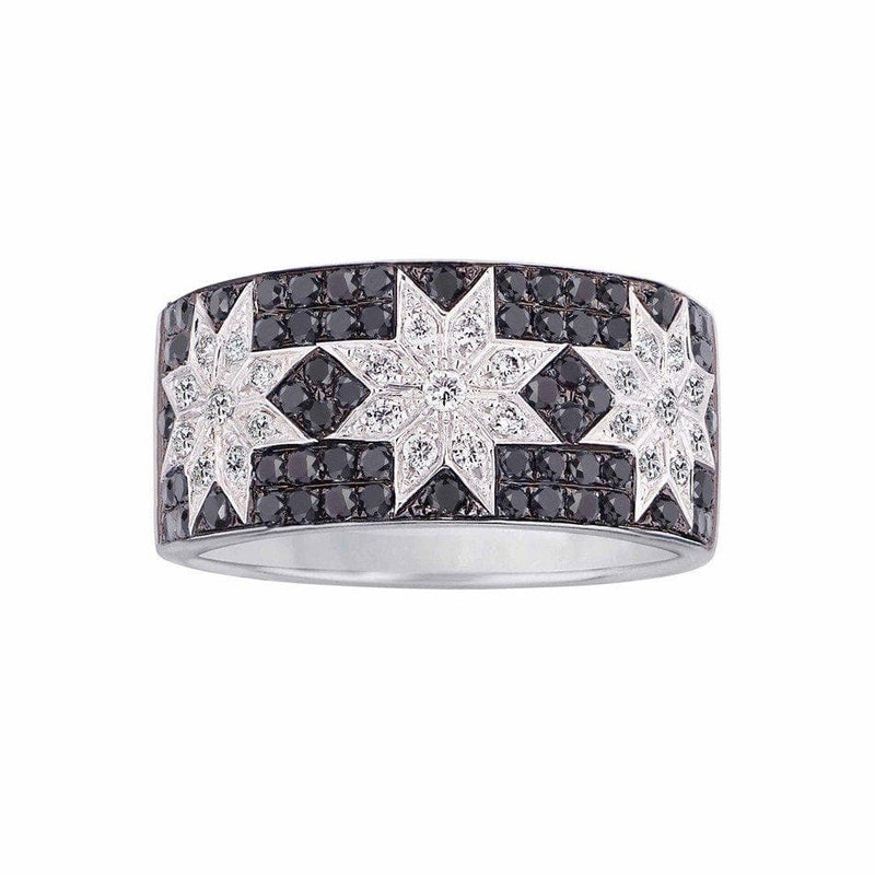 Trio Star ring wide Black Diamond - Natkina