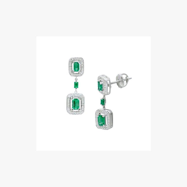 White Diamond White Gold Drop Dangle Emerald Earrings - Natkina