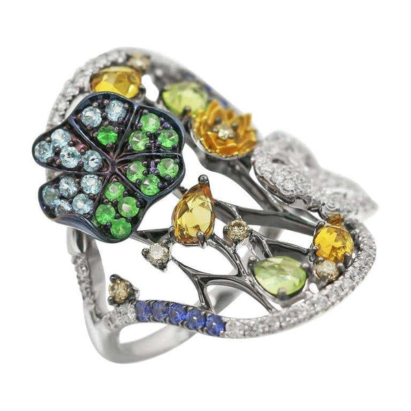 Yellow Citrine Blue Sapphire Topaz Tsavorite Diamond White Gold Nature Ring - Natkina