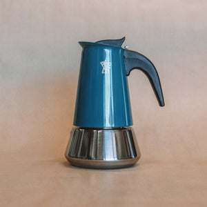 Open image in slideshow, Stainless Steel Stove Top / Moka Pot Teal Blue