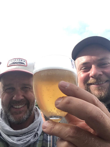 Tim and Billy tasting a new brew