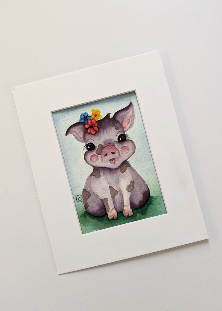 Original Watercolor Painting Pretty Piglet