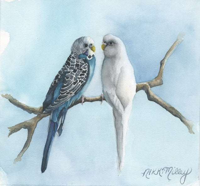 The Conversation Watercolor Birds on Paper