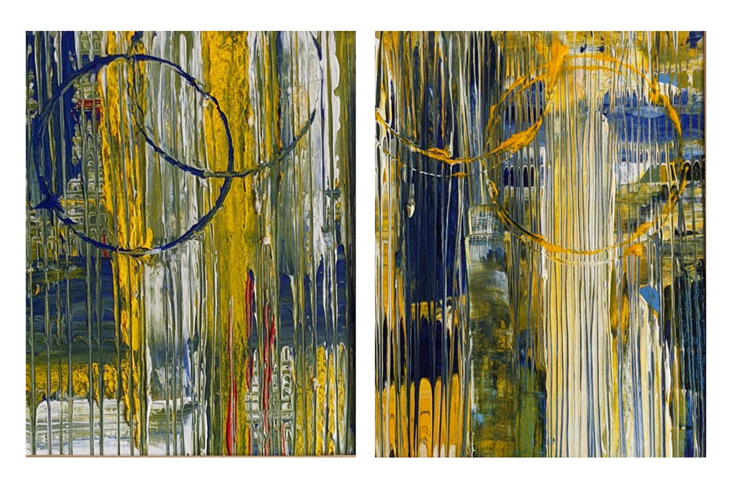 Summertime Blues I & II Acrylic Abstracts on Canvas