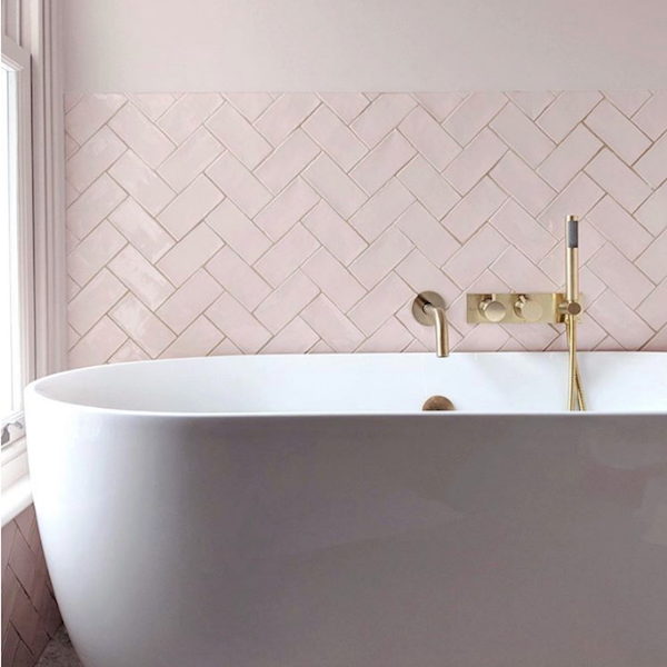 Cotswold Pink Blush Gloss Handmade Effect Wall Tiles 7 5x15cm The Naked Bathroom