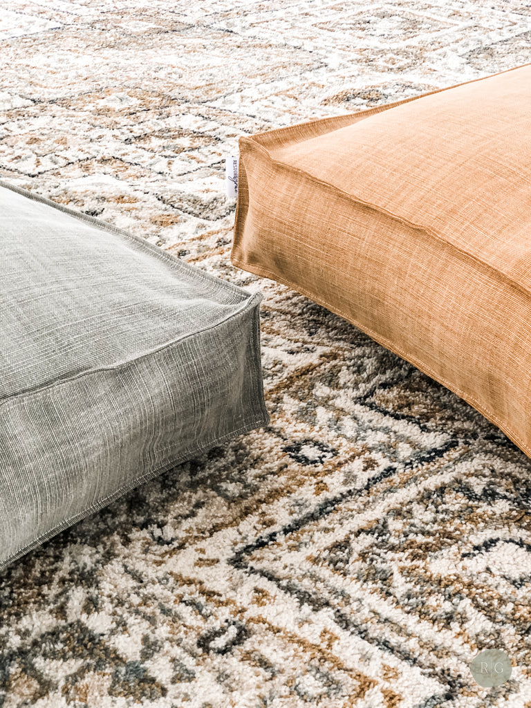 premium linen floor cushions matching with rug