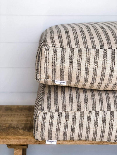 Restore grace Farmhouse Jute Floor Cushions on wooden bench
