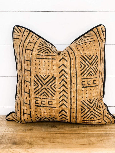Restore grace Mali Mudcloth cushion with black piping