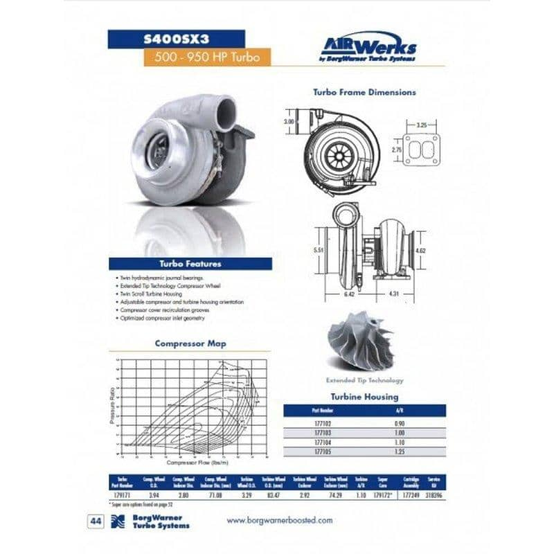 BorgWarner AirWerks S400SX Turbo 1.10ar - 71mm 100/83 - 179171