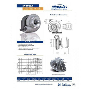BorgWarner AirWerks S400SX4 Turbo 1.32ar - 80mm 110/96 - 177287 aka S480SX4