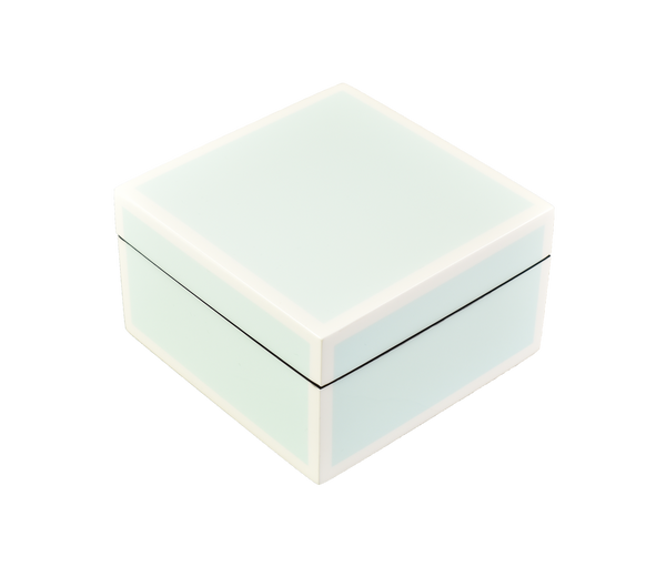 Duck Egg Blue with White- Square Box