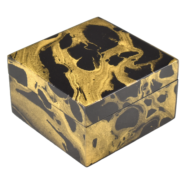 Black Gold Marble - Square Box - L-31BGM