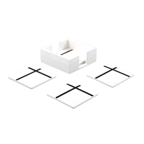 White Grid Coasters