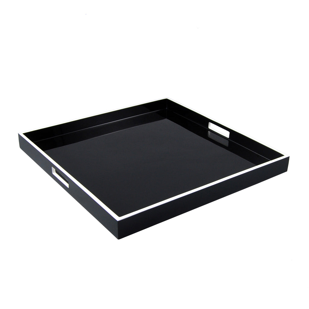 Black And White Large Square Serving Tray