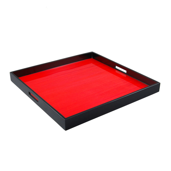 Red Tulipwood Large Square Serving Tray