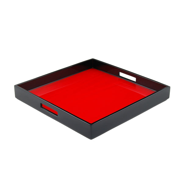 Red Tulipwood Inlay Square Serving Tray