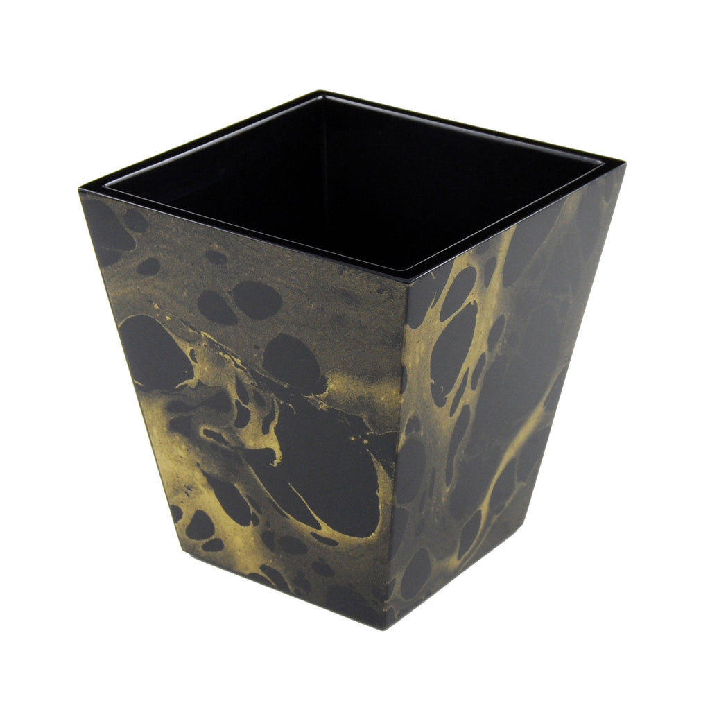 Black Gold Marble Waste Basket