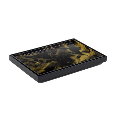 Black Gold Marble Vanity Tray