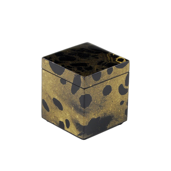 Black Gold Marble Q Tip Box