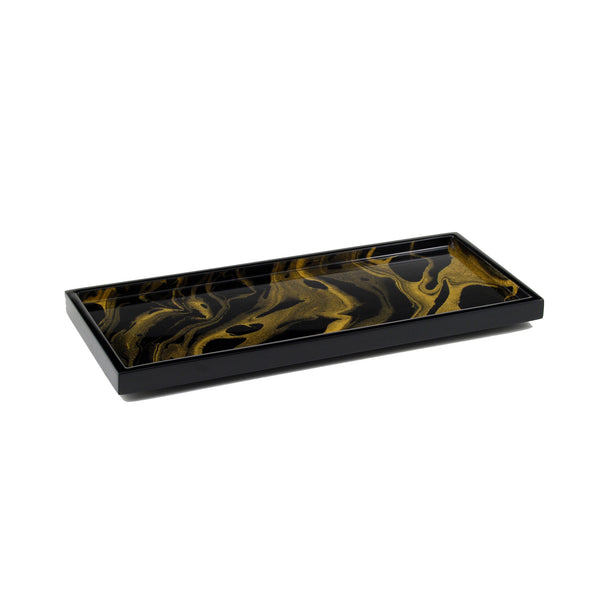 Black Gold Marble Long Vanity Tray