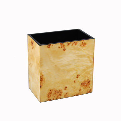 Mappa Burl Inlay Rectangular Waste Basket