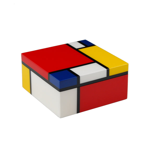 Mondrian Inspired Square Hinged Box
