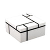 White Grid Square Hinged Box