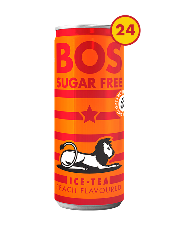 BOS Ice Tea Sugar Free Peach 300ml can case of 24