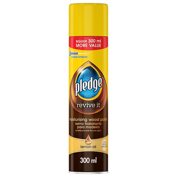 Pledge Wood Polish Aerosol Lemon Oil 1 x 300ml
