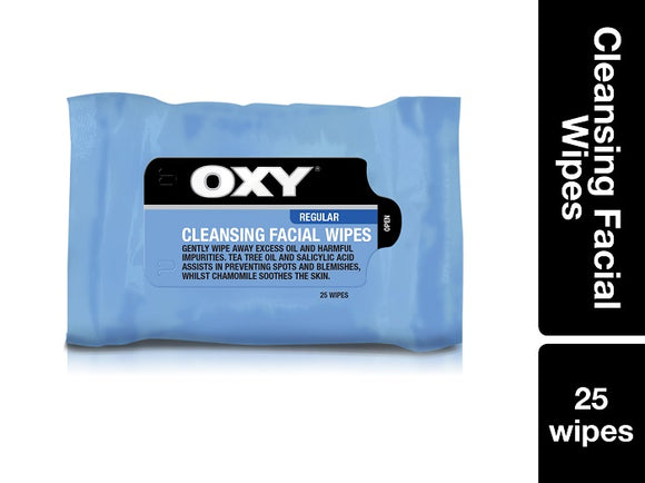 Oxy Cleansing Facial Wipes 25 Wipes Pack of 6