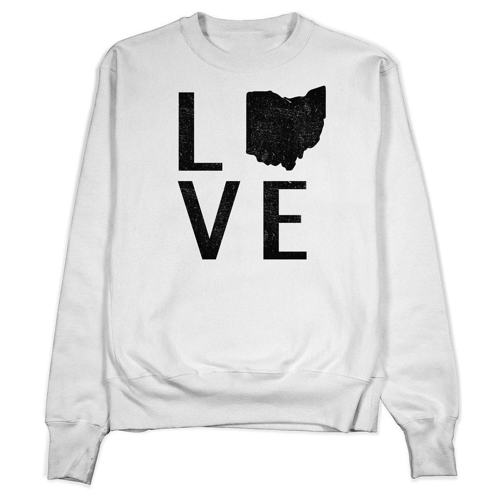 Distressed Ohio Love Crewneck - Buckeye Shirt Co.