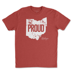Load image into Gallery viewer, Distressed Ohio Proud T-Shirt - Buckeye Shirt Co.
