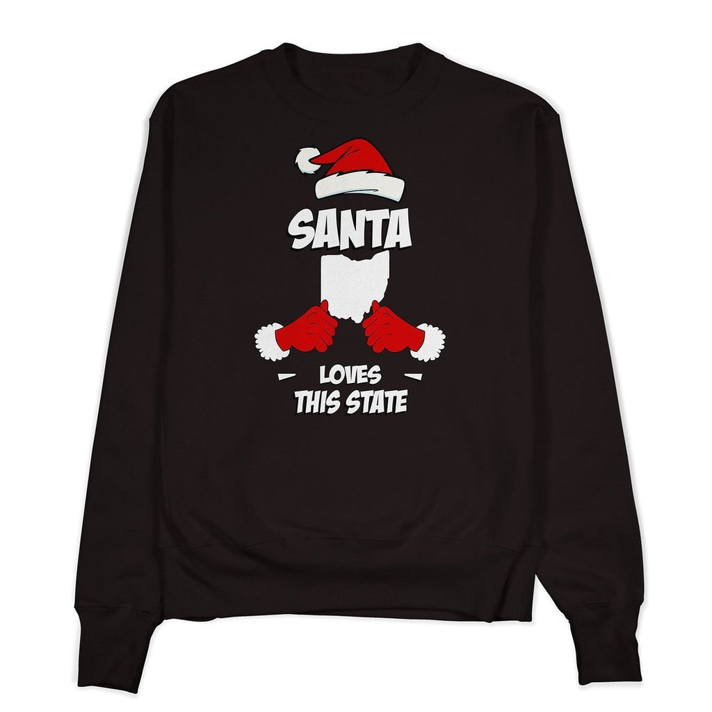 Santa Loves Ohio Crewneck - Buckeye Shirt Co.