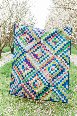 Postage Stamp Rainbow (Repurposed Fabrics) Handmade Quilt - Quilts a la Mode