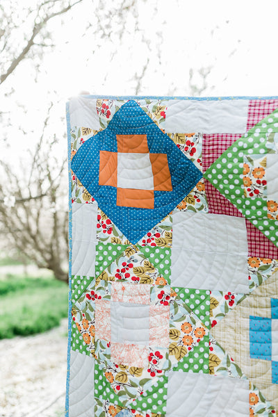 Green and Burnt Orange Meadowland (TCJ Pattern) - Quilts a la Mode