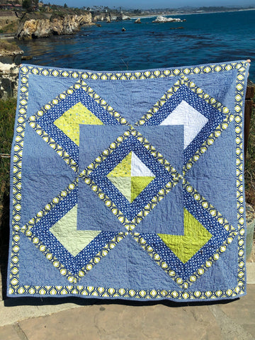 Blue and Green Geometric Quilt - Quilts a la Mode