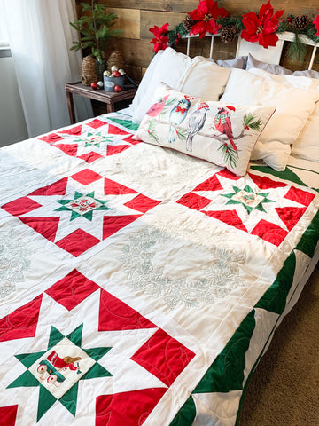 Christmas Star Fields Holly Wreath Handmade Quilt - Quilts a la Mode