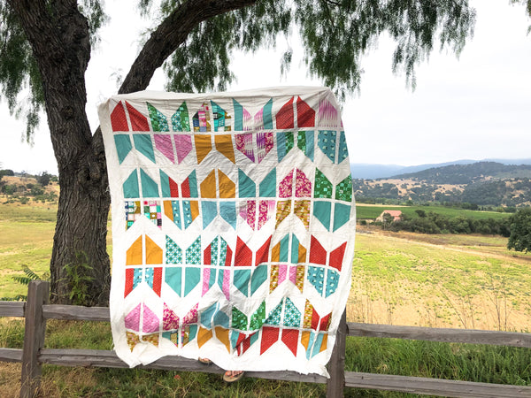 Sage Green and Orange Tail Feather Quilt - Quilts a la Mode