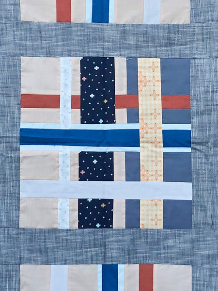 Gray, Peach, and Blue Metropolis Quilt (Elizabeth Hartman Pattern) - Quilts a la Mode